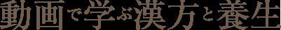 動画で学ぶ漢方と養生